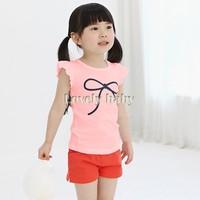 Girls Sleeveless Shirt Tops 2015 Cute Toddler Girls Bowknot Shirt Girls Summer Shirt 3-11Y Drop Shipping B21 CB034066