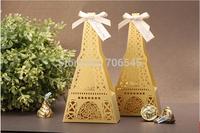 Free shipping,50 pcs/lot, Gold  Creative La Tour Eiffel Tower Wedding Candy box, Wedding Gift,Wedding Favor