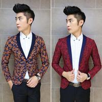 2014 New Fashion Mens Vintage Slim Custom Fit Knit And Print Strange Pattern Casual Dress Suit Blazer 2 Colors