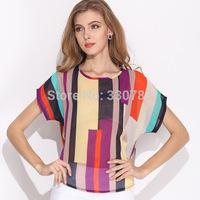 2015 Free Shipping Women casual dress Striped chiffon blusas femininas tropical roupas femininas cheap clothes china roupas