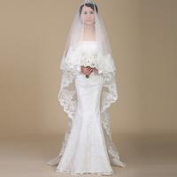 wedding accessories  lace edge  long design of luxury diamond bridal veil