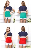 2014 European and American fashion casual summer tricolor stitching  small fresh assorted colors short-sleeved t-shirts