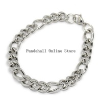 Trendy Men's 304 Stainless Steel Figaro Chain Bracelets with Lobster Claw Clasps Stainless Steel Color 10PCS/Lot