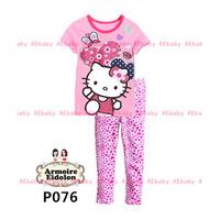 Dec-22 Girls Hello Kitty Clothing Set Kids Cartoon Clothes New 2014 Wholesale Children 2-7Y Cotton Pajamas Sets P-076