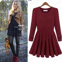 New 2014 women dress fashion autumn winter slim Long-sleeved knit casual dress temperament dress 4 colors 4 sizes WG#