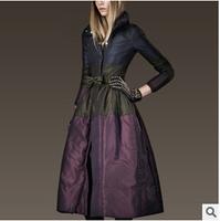 Women New European Style Winter Belt Long Warm Down Jacket,Fashion Female Slender Waist Solid Skirt Winter Coat