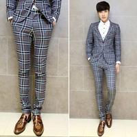 2014 New Fashion Korean Style Celebrities Gentleman Straight Suits Pants Print Plaid  Men's Business Trousers