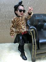 Joy Chang's girls winter Faux Fur warm fleece leopard jackets, children's winter cheetah windbreaker trench coat 5pcs/lot