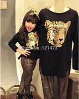 2015 Fashion Leopard Long sleeve T shirt + Leopard Leggings Fashion Leopard Child Suit Kids Sets Girl Clothes Children Set