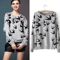 2014 New Autumn Winter Women Fleece Hoodies Swallow printing Thickening Loose-sleeved Pullover Sweater SweatShirt WG#
