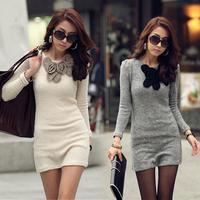 2014 New Fashion Sexy Women Ladies Winter Bottom Slim Knit Knitwear Winter Sweater Dress women long tshirt WG#