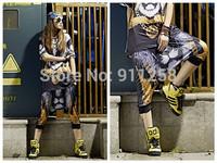 Hot Sales Stylish Golden Chain Lion Printing New Women Hip Hop Street Dance Shorts Capries Free Size FS3273