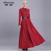 2015 New fashion autumn winter dress elegant women's long maxi dress plus size women's red flower dress S-XXXL