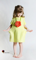 New Quality Summer Spring Girls Dress Lovely Short Sleeve Cotton Dresses with a Flower Necklace Top Grade Children Clothing