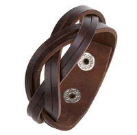 Hot Sale Vintage Braided  Leather Bracelet Wire Bangles  for  Men