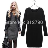 Freeshipping New Autumn Winter Dresses Cotton Long Sleeve Women Dress Cashmere Warm  vestidos de festa Big Size Dress XL XXL