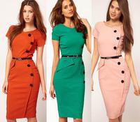 New Fashion Summer Women Dress Plus Size V-Neck Short Sleeve Button Empire Waist Slim Wiggle Pencil Bodycon Casual Dress SCF63