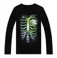 201Hot sale  hAutumn male 100% 3d cotton long-sleeve T-shirt men's streetwear clothing skull skeleton personalized