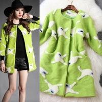 New arrival 2014 Winter women's memory woolen flock printing color block overcoat outerwear