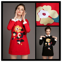 2015 autumn winter new arrival women's long sleeves  turn-down collar floral appliques one-piece dress free shipping 2654