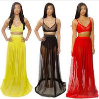 women dress  --4160 AliExpress Hot new European and American perspective piece dress sexy nightclub dress Bra- dresses
