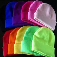 New 28 Colors Neon Knitted Beanie Gorro Touca Men Women Beanies Warm Winter Hat Sport Skullies Casual Cap Free Shipping A0409