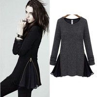 Fashion round  knitted zipper patchwork chiffon long-sleeve dress women's winter dress
