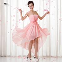 Good Quality 2014 Flowers Crystal Evening Dress Sleeveless Short Front Long Back Chiffon Pink Evening Party Dress 1D1412