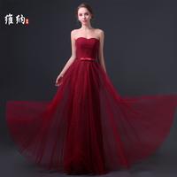 casual dress Fashion wedding dress formal dress tube top lace long design red evening dress slim bridesmaid dress costume