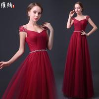 2015 autumn and winter bag long design formal dress Wine red bridesmaid dress slim plus size rhinestone tube top formal dress