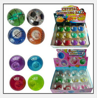 New free shipping promotion crystal led flash Bouncy bouncing ball toy printed logo for children