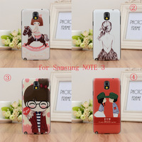 Free shipping  coloured drawing lovely girl hard phone case &accessories for Samsung Galaxy note 3