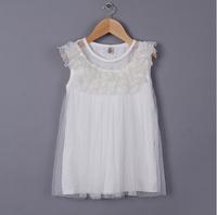 2015 Baby Girls Korea White Fairy Lace Tulle Summer Dress, Princess Sweet Pink Wear, 4 Pcs/lot, Free Shipping