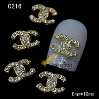 5pcs New Arrival Charm DIY Logo Designs Pop Alloy Metal Nail Art Jewelry with Shinning Rhinestones Styling Tools C216-217