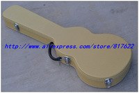 Guitar hard case - yellow Tweed color with red lining inside  for LP style guitar, free add LOGO, not sold separately
