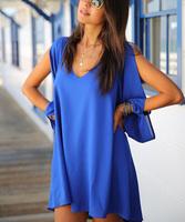 New Summer Women Dress V Neck Full Sleeve Loose Dress Fashion Ladies Casual Chiffon Beach Dress Women Dress