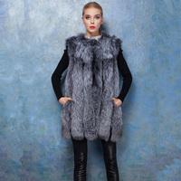 Fashion Women Natural Fox Fur Coat Long Coat Jacket Real Fur Wholeskin Luxury Winter Outwear Big Size 6XL