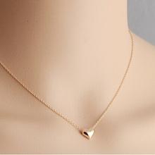 2015 Fashion Romantic Gold Peach Heart Necklace Short Design Chain Delicate Pendant Necklace P885(China (Mainland))