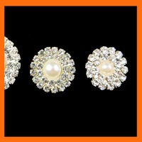 Free Shipping ! 100pcs/lot 19mm round pearl and rhinestone embellishment for wedding invitation card