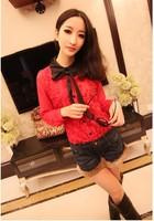 New 2015 Women Sexy Shirt Stereo rose color bowknot lapel Sweet chiffon shirt free shipping