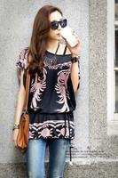 High quality 2015 summer women casual tshirt printing Loose Ruffles short sleeve long tops Female tropical clothing