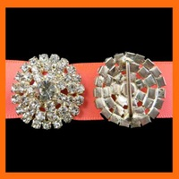 Free Shipping ! 100pcs/lot  22mm round crystal rhinestone brooch buckle for ribbon slider