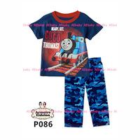Dec-22 Boys Blue Train Clothing Set Kids Cartoon Clothes New 2014 Wholesale Children ShortSleeve Cotton Pajamas Sets P-086 087