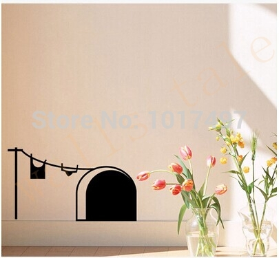 Free shipping New cute cartoon mouse home sticker wall decor Mouse Hole Children Decor Vinyl Sticker