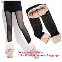 Height 155-175cm for girls 2015 new fashion fake through the meat plus thick velvet leggings winter leggings(China (Mainland))