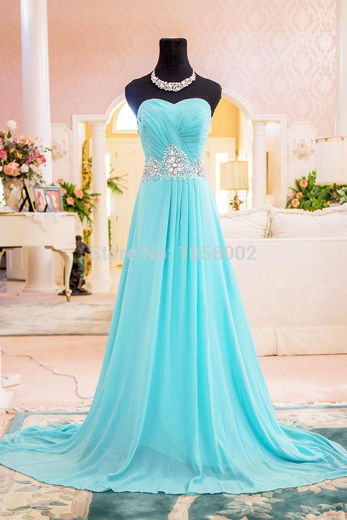 Clf0001 em estoque 2015 strapless a linha chiffon vestidos mulheres bola prom formal vestido de noite das mulheres vestidos custom made(China (Mainland))