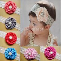 12 lots Matt Satin Rose Flower Rhinestone Lace headbands headwear hair bow accessory Infant Toddler baby girl New