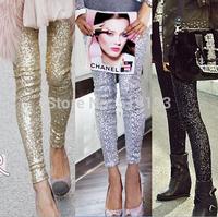 sexy shiny gothic punk legging for women skinny leggings pencil pant ladies leggins metalic gold silver black Sequin legging