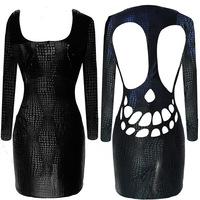 women dress  --4151 European and American trade AliExpress supply bandage dress sexy nightclub ladies snake skull pierced- dress