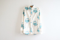 2014 New Japanese Mori Girl Autumn Women Art Owl Print Long-Sleeve Cotton Shirts,Female Casual Blouses,Free Shipping al139
